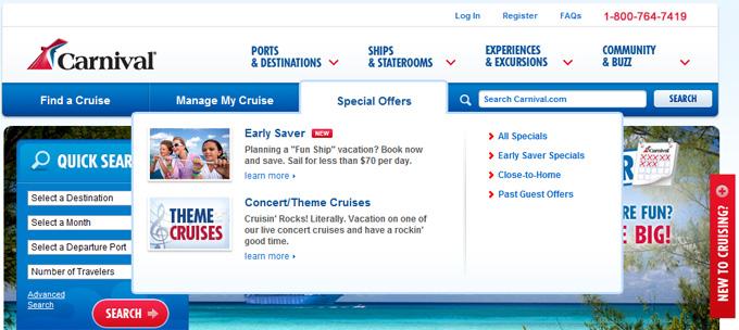 Carnival Cruise Lines Drop-Down Menu Surprise