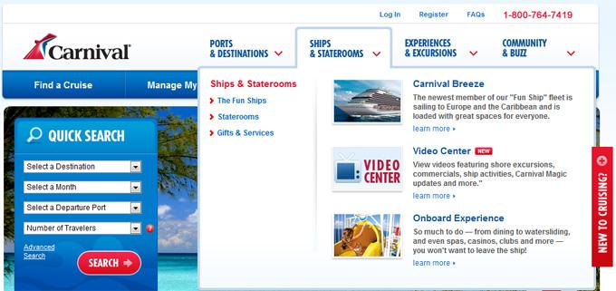 Carnival Cruise Lines Drop-Down Menu