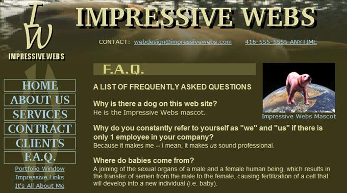 Impressive Webs: F.A.Q.