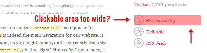 CSS Wizardry's sidebar click area